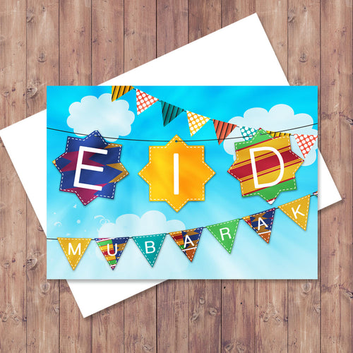 Kente Eid Banners Up High Greeting Card