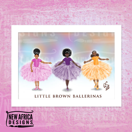 Little Brown Ballerinas Art Print