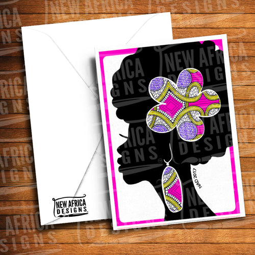 Flower Afro Greeting Card