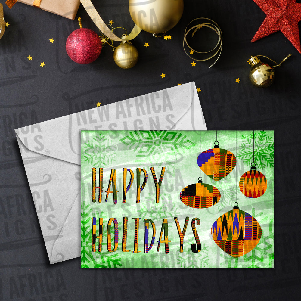 African Print Ornaments Greeting Card / Green