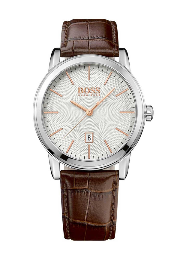Hugo Boss 1513399 Classic Silver Dial Brown Leather Mens Watch