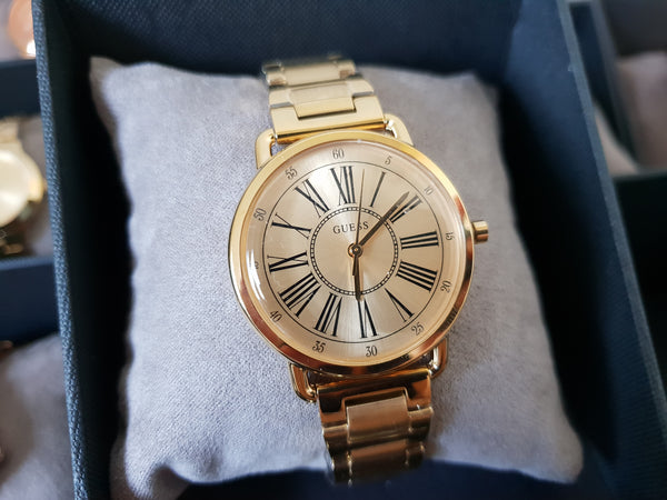 GUESS Champagne W1148L2 Metallic Gold Crystal Ladies Watch