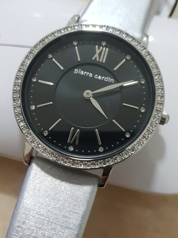 Pierre Cardin 5795 Crystal Classy Slim Silver Leather Ladies Watch