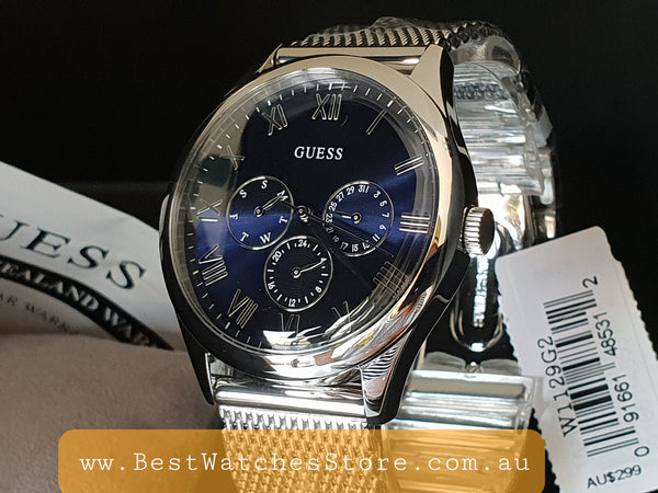 Guess Men's Watch - W1129G2 - Watson Blue Chronograph Dial Mesh Strap