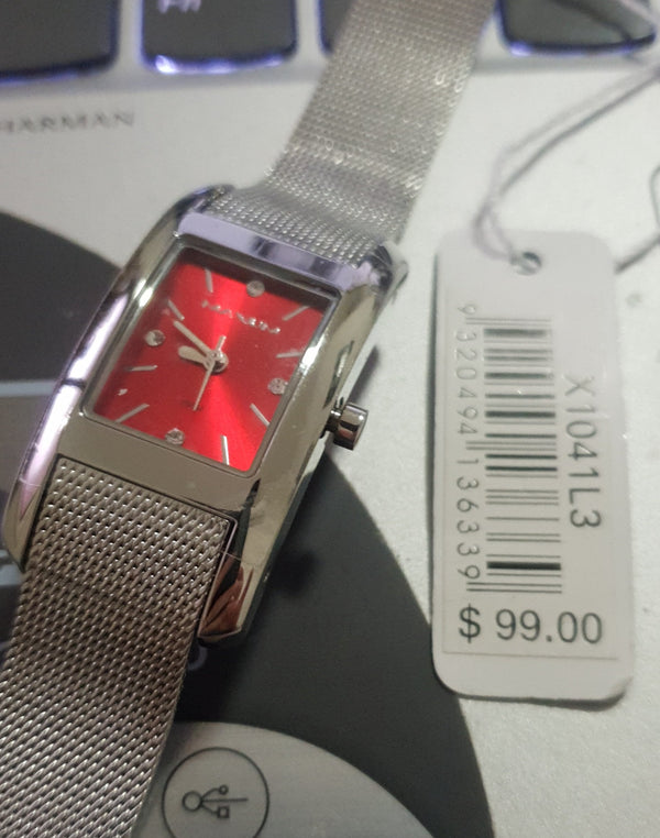 Maxum classic X1041L3 Rectangle Red Dial Ladies Watch