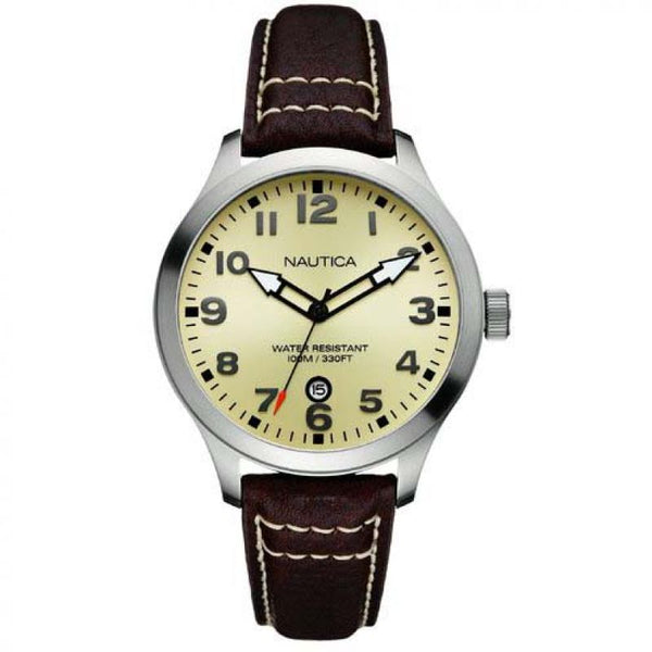 Nautica A09559G Gold Dial Black leather Men's Watch