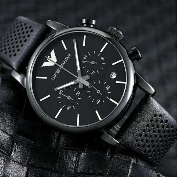 EMPORIO ARMANI AR1737 Chronograph Black Dial Leather Men's Watch