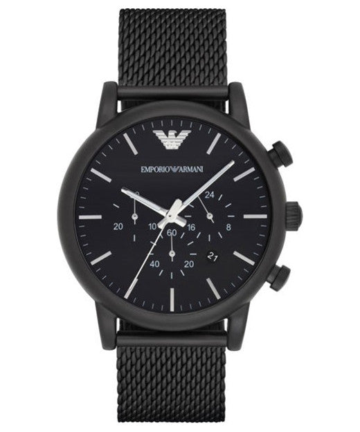 EMPORIO ARMANI AR1968 Sport Chronograph Black Steel Mesh Men's Watch