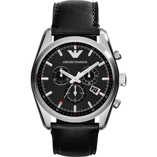 EMPORIO ARMANI AR6039 Chronograph Black Dial Leather Men's Watch
