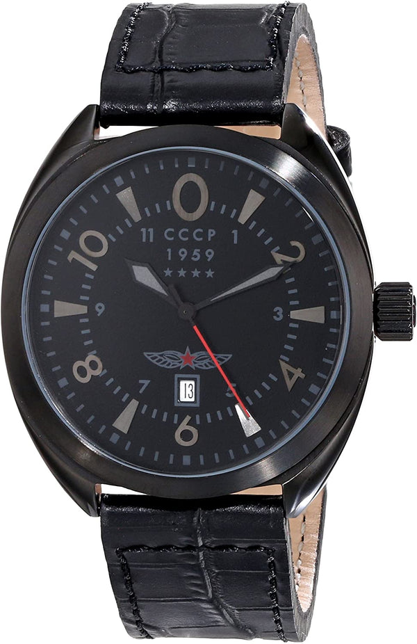 Swiss CCCP Aviator YAK-15 Black Leather CP-7014-03 Mens Watch