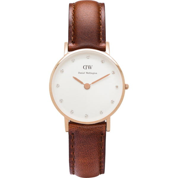 Daniel Wellington Classic St Mawes DW0950 Crystal 34mm Brown Leather Ladies Watch
