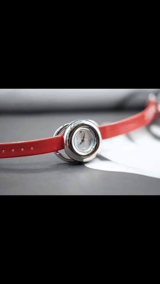 Marc Jacobs Jerrie MJ1444 Silver Dial Red Leather Womens Watch