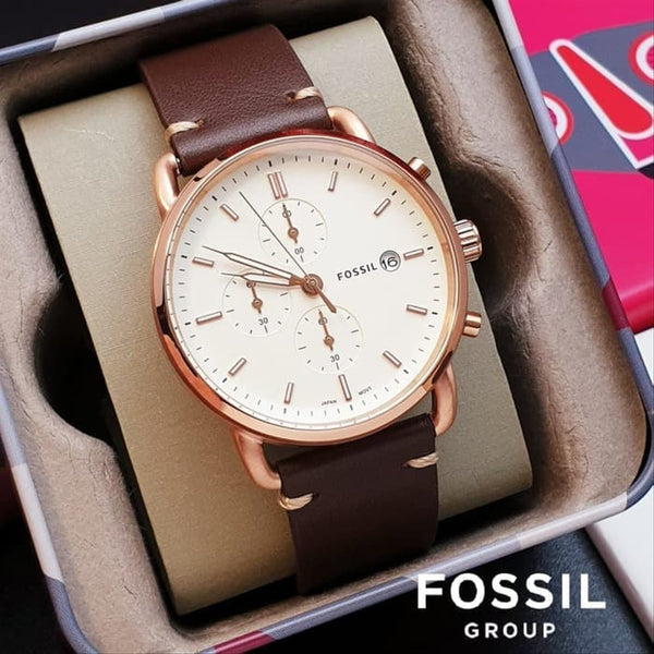 Fossil Commuter FS5476 Chronograph Brown Leather Men's Watch