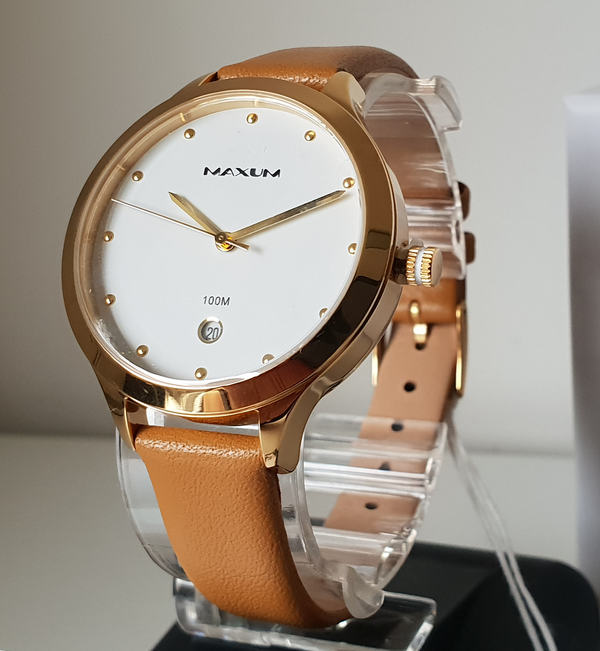 MAXUM X1770L3 Paradise Gold w Date Dial Tan Leather Ladies Watch