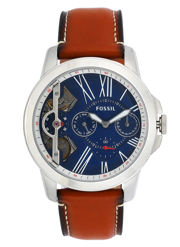 Grant Fossil Automatic ME1161 Twist Multifunction Brown Leather Men's Watch