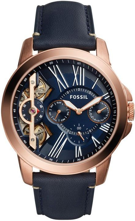Grant Fossil Automatic ME1162 Twist Multifunction Blue Leather Men's Watch