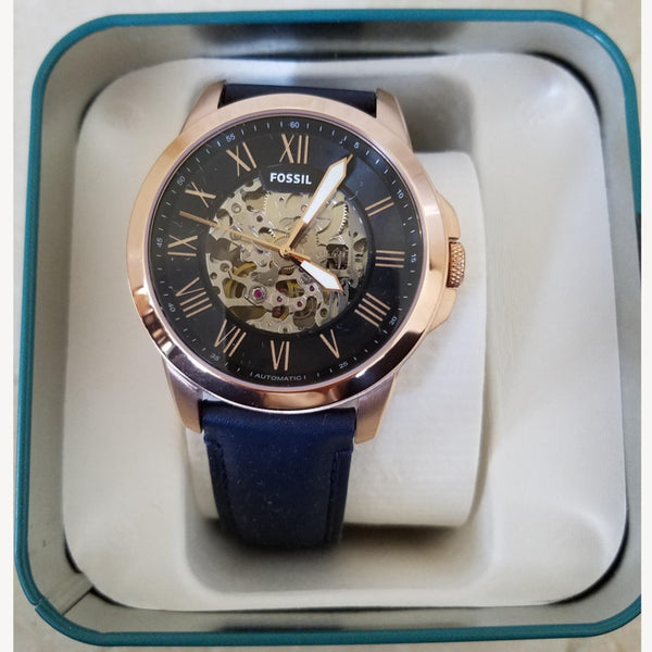 Grant Fossil Automatic ME3102 Rose Gold Blue Leather Men's Watch