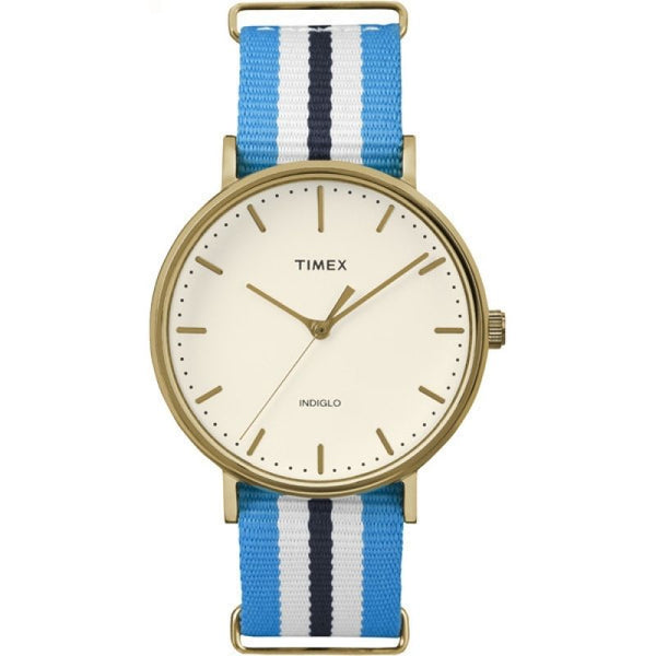 Timex TW2P91000 Indiglo Gold Case Nylon Mens Watch