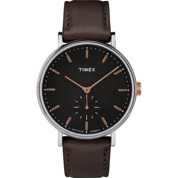 Timex Indiglo TW2R38100 Brown Leather Mens Watch