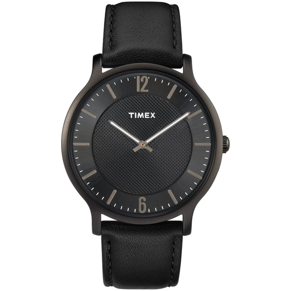 Timex TW2R50100 Super Slim Black Dial & Leather Mens Watch