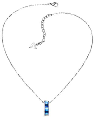 Guess Necklace UBN51402 Rhodium Plated Guess w Crystal Pendant