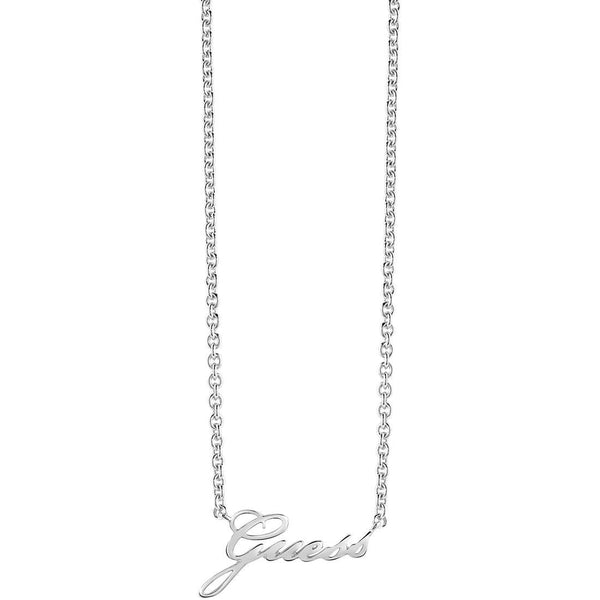 Guess Necklace UBN82056 Rhodium Plated Guess Logo Pendant