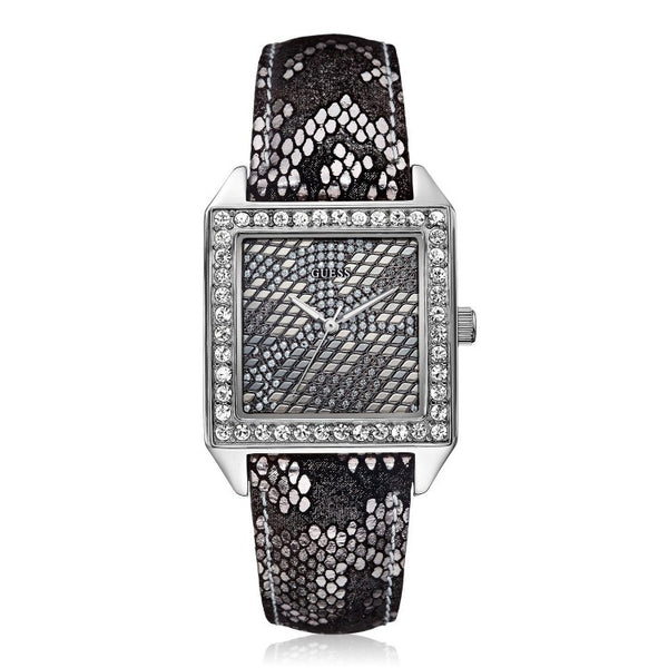 GUESS W0050L1 SQUARE WILD SILVER SNAKE PRINT DIAL & LEATHER LADIES WATCH