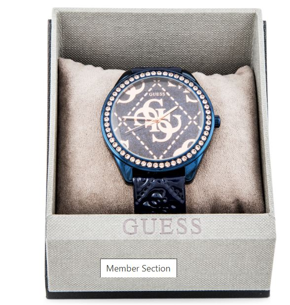 Guess W0473L1 Super logo Glitter Rose Gold Dial Blue rubber leather Oversize Ladies Watch