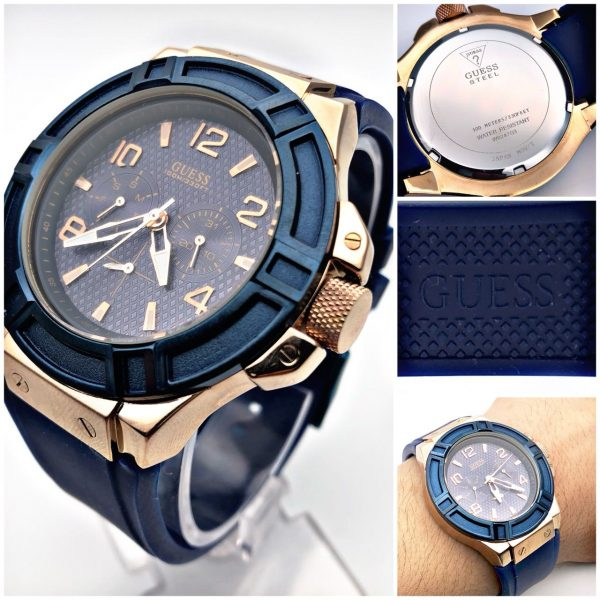 Guess W0247G3 Multifunction Rose Gold Blue Silicone Men's Watch