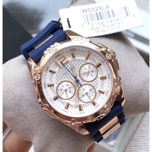 Guess W0325L8 Multifunction Rose Gold Case Blue rubber Strap Ladies Watch
