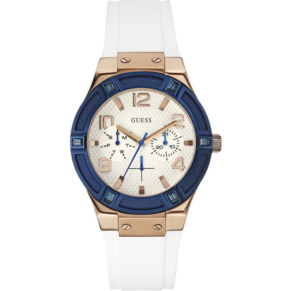 Guess W0564L1 Jet Setter Multifunction Rose Gold White Strap Ladies Watch