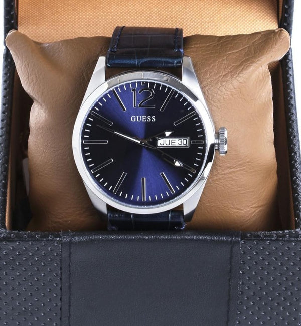 GUESS W0658G1 Vertigo Blue w Date Dial Leather Strap Men's Watch