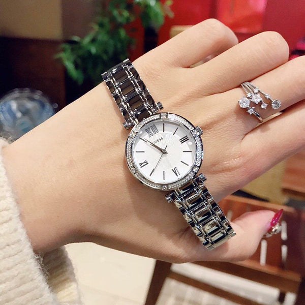GUESS W0767L1 Park Ave Crystal Silver 30mm Ladies Watch