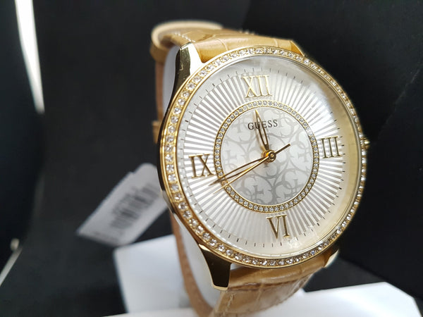Guess W0768L2 Broadway Brown Leather Strap Ladies Watch