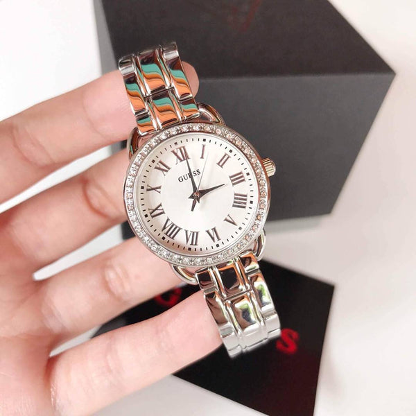 GUESS W0837L1 Fifth Ave Crystal Silver 27mm Ladies Watch