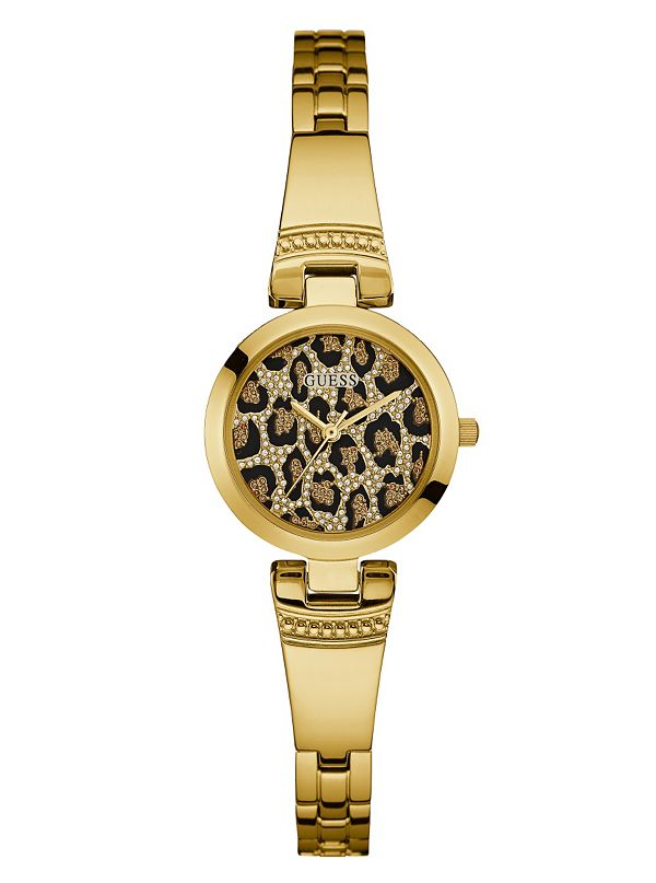 GUESS  W0890L3 Gold Leopard Print 25mm Ladies Watch