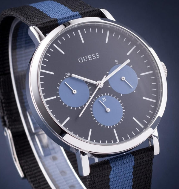 GUESS W1045G1 Slate Multifunction Blue Dial Nato Strap Men's Watch