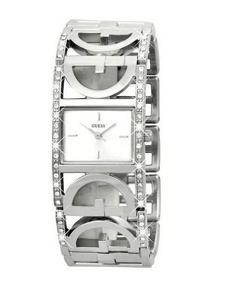 GUESS W10573L1 Rectangle Crystal Case Silver br Ladies Watch
