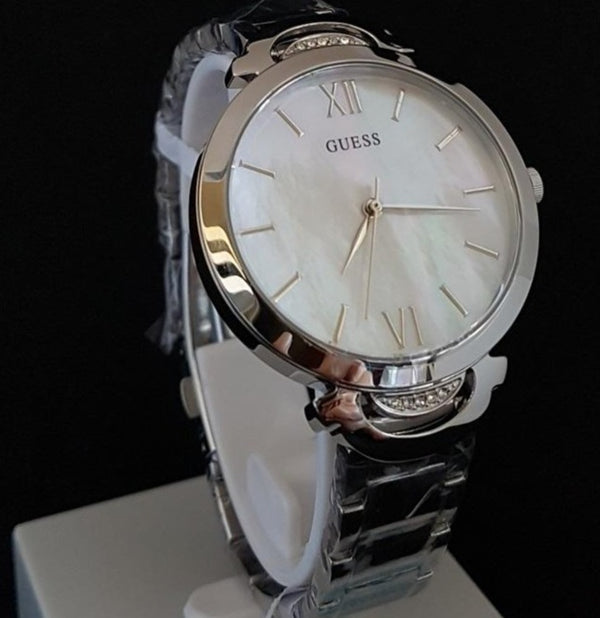 GUESS W1090L1 Opal Stainless Steel Crystal Silver 35mm Ladies Watch