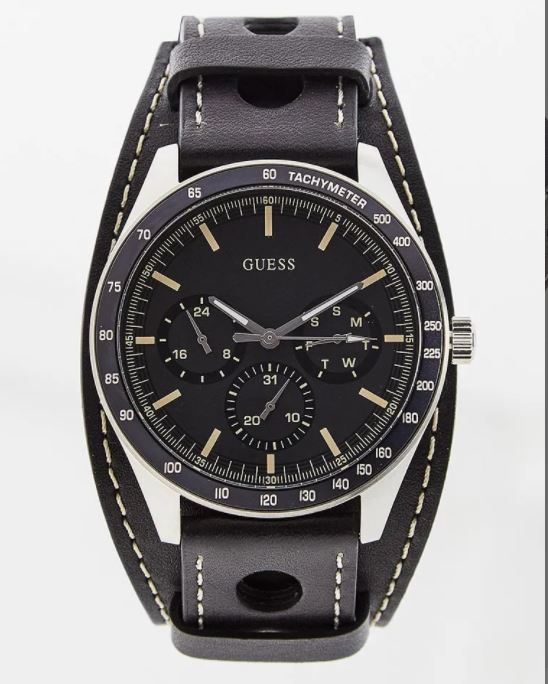 GUESS W1100G1 Multifunction Black Dial & Leather Strap Men's Watch