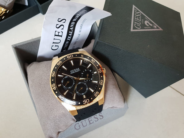 Guess W1171G2 Atlantic Multifunction Gold Plated Black Rubber Men's Watch