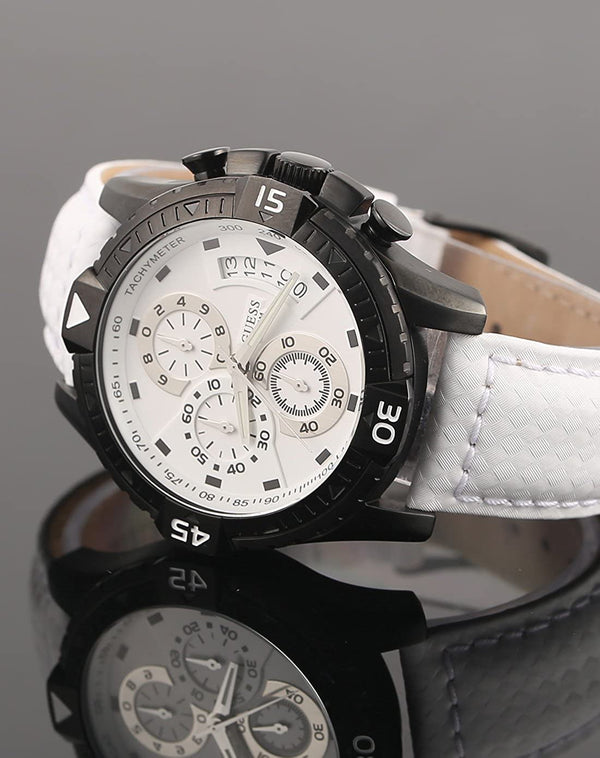 GUESS ACTIVATOR W18547G2 Chronograph Black Case White Leather Men's Watch