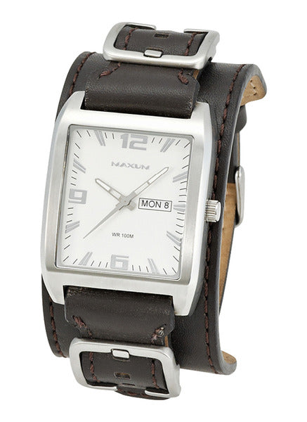 Maxum RIDER X1223G3 White Dial BROWN Leather Mens Watch