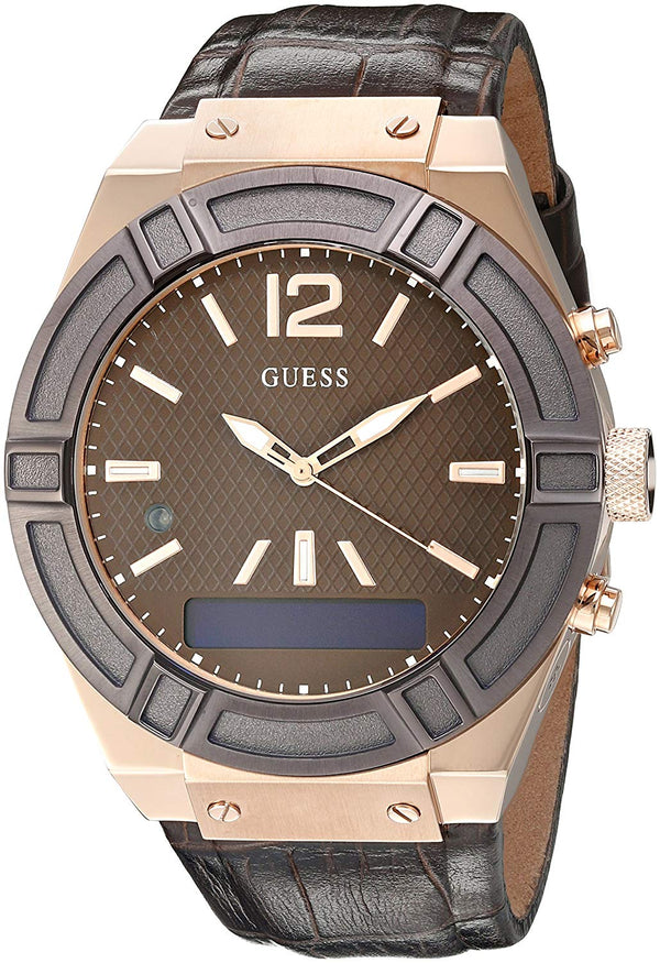 Guess Connect C0001G2 SmartWatch Brown Leather Mens Watch