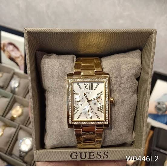 GUESS W0446L2 rectangular Glitter Gold Multifunction Dial Ladies Watch