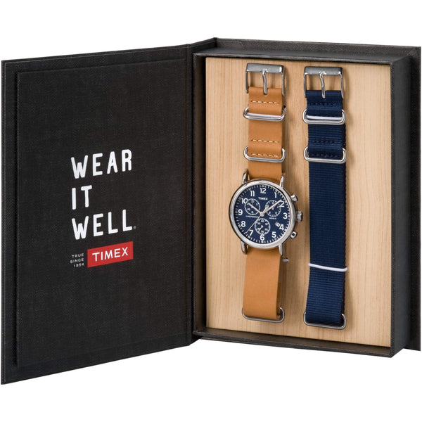 Timex TWG012800 Weekender Indiglo Chronograph Mens Watch Set