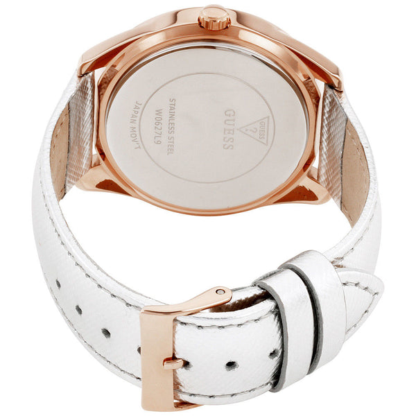 GUESS TWIST CRYSTALS ROSE GOLD WHITE LEATHER STRAP WOMEN W0627L9 WATCH