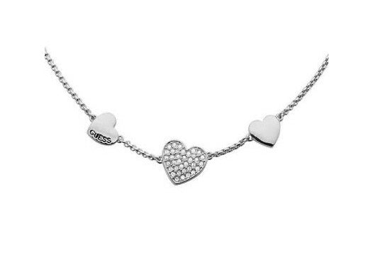 Guess Necklace Rhodium Plated Hearts Pendant