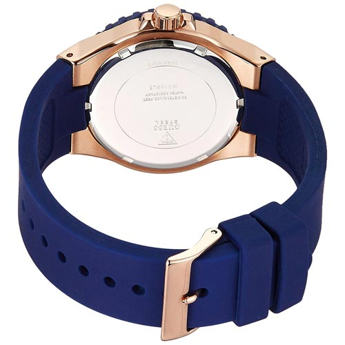 Guess Overdrive W0149L5 Rose Gold Blue Silicone Strap Ladies Watch