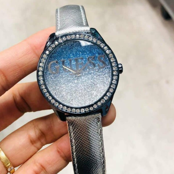 Guess W0823L8 Glitter Sky Blue & Silver Ladies Watch